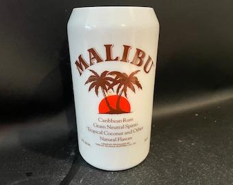Malibu Rum Candle/750ML Malibu Rum BOTTLE Soy Candle. VERY RARE White Glass Bottle with Recipes on Back