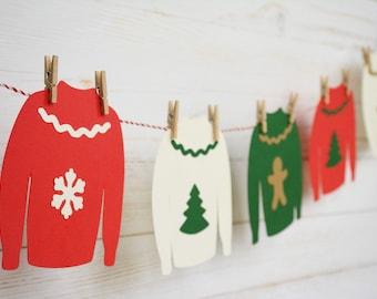 Ugly Christmas Sweater Garland, Ugly Christmas Sweater Invitation, Ugly Christmas Sweater Party, Christmas Decor, Christmas Gifts, Galrand
