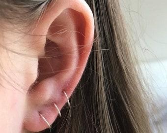 ecdb8e42a Tiny Hoop Earrings - Gold or Silver Plated - Tiny Gold Hoop Earrings -  Cartilage Jewelry - Endless Hoop, - Hoop Earrings