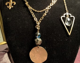 Vintage Necklace with Pyrite, Labradorite bead, swarovski crystal