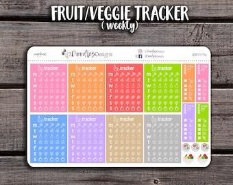 8 Weekly Fruit & Veggie Tracker Stickers | Erin Condren Stickers | Health Stickers | Planner Stickers | Happy Planner Stickers | 2DD0009W