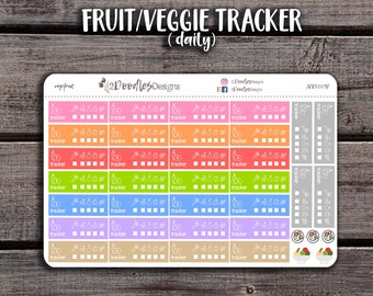 32 Daily Fruit & Veggie Tracker Stickers | Erin Condren Stickers | Planner Stickers | Health Stickers | Happy Planner Stickers | 2DD0009D