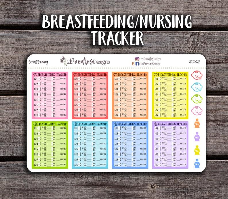 8 Breastfeeding Tracker Stickers  Erin Condren Stickers  image 0