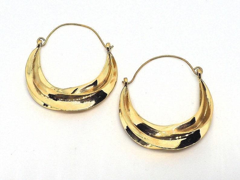 Handmade Jewelry MediumBig Size Brass Earrings Inspired by Fulani Tribe Jewelry Statement Earrings Hoops Earrings