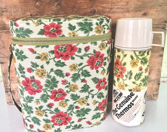 Vintage Flowered Thermos with Matching Carrying Bag