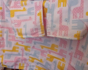 Baby Blanket Set for Girls with Pink and Yellow Giraffes 2 Blankets and 2 Burp Cloths