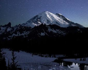 Stars over Tahoma, Mt Rainier National Park, Mountain Photo, Stars, Night Sky, Landscape Photography, Nature Print, Fine Art Photography