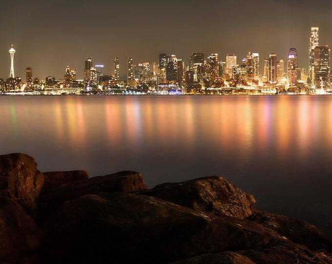 Featured listing image: Seattle Panorama, City Skyline, Night Photo, City Photo, Washington State, Landscape Photography, Fine Art Photography