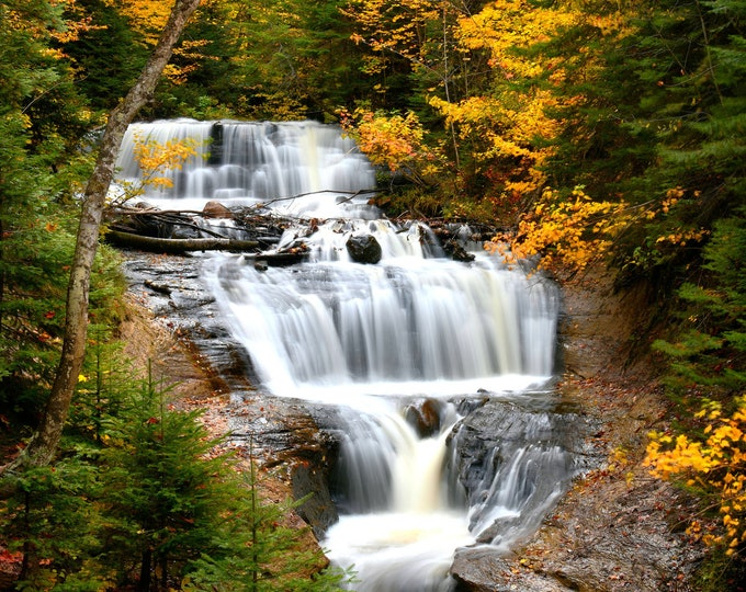 """Featured listing image: Waterfall Photo, Michigan, Upper Peninsula, Landscape Photography, Nature Print, """"Sable Falls in Autumn"""", Fine Art Photography"""