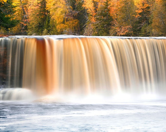 """Featured listing image: Waterfall Photo, Michigan, Fall Color, Landscape Photography, Nature Print, """"Tahquamenon Falls"""", Fine Art Photography"""