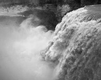 """Waterfall Photo, Letchworth State Park, New York State, Landscape Photography, Nature Print, """"Smokey Waters"""", Fine Art Photography"""
