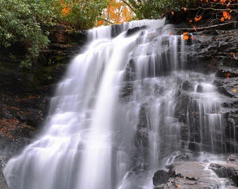 """Waterfall Photo, Fall Color, Great Smoky Mountains, Landscape Photography, Nature Print, """"Soco Falls in Autumn"""", Fine Art Photography"""