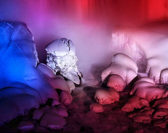 "Waterfall Photo, Niagara Falls, Winter, Ice, American Falls, Landscape Photography, Nature Print, Fine Art Photography, ""Red, Ice and Blue"""