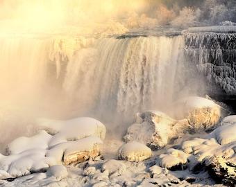 "Waterfall Photo, Niagara Falls, American Falls, Dawn, Landscape Photography, Nature Print, Fine Art Photography, ""Sunrise at the Falls"""