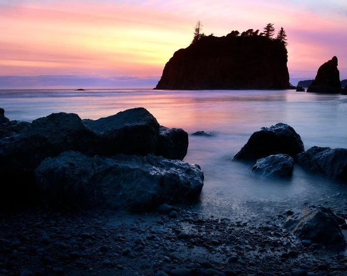 Featured listing image: Ruby Beach Pastels, Sunset Photo, Pacific Ocean, Olympic National Park, Landscape Photography, Fine Art Photography, Washington State