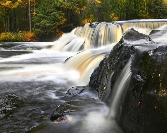 "Featured listing image: Waterfall Photo, Michigan, Upper Peninsula, Landscape Photography, Nature Print, ""Upper Bond Falls"", Fine Art Photography"