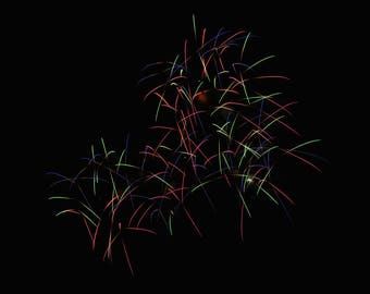 "Fireworks Photo, Fourth of July, Art Print, ""Rainbow Calligraphy"", Fine Art Photography, Long Exposure Photography, Celebration, Ludington"