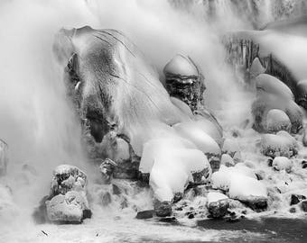 "Frozen Niagara Falls, Winter, Waterfall, Landscape Photography, Black and White, Nature Print, Fine Art Photography, ""Frozen in Mist"""