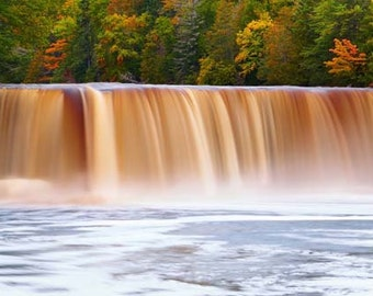 "Waterfall Photo, Michigan, Fall Color, Landscape Photography, Nature Print, ""Perfection of Tahquamenon Falls"", Fine Art Photography"