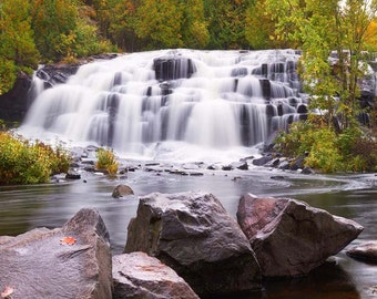 "Waterfall Photo, Bond Falls, Porcupine Mountains, Landscape Photography, Nature Print, ""Bond Falls in Autumn"", Fine Art Photography"