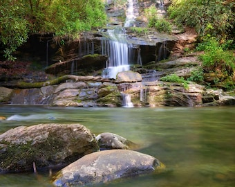 """Waterfall Photo, Great Smoky Mountains, Landscape Photography, Nature Print, """"Calm of Tom Branch Falls"""", Fine Art Photography"""
