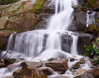 """Waterfall Photo, Great Smoky Mountains, Landscape Photography, Nature Print, """"Grace of Laurel Falls"""", Fine Art Photography"""
