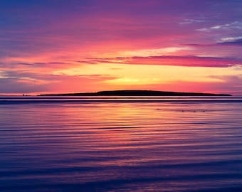 "Sunrise Photo, Lake Huron, Dawn, Michigan, Landscape Photography, ""Morning on the Lake"", Fine Art Photography, Mackinaw City"