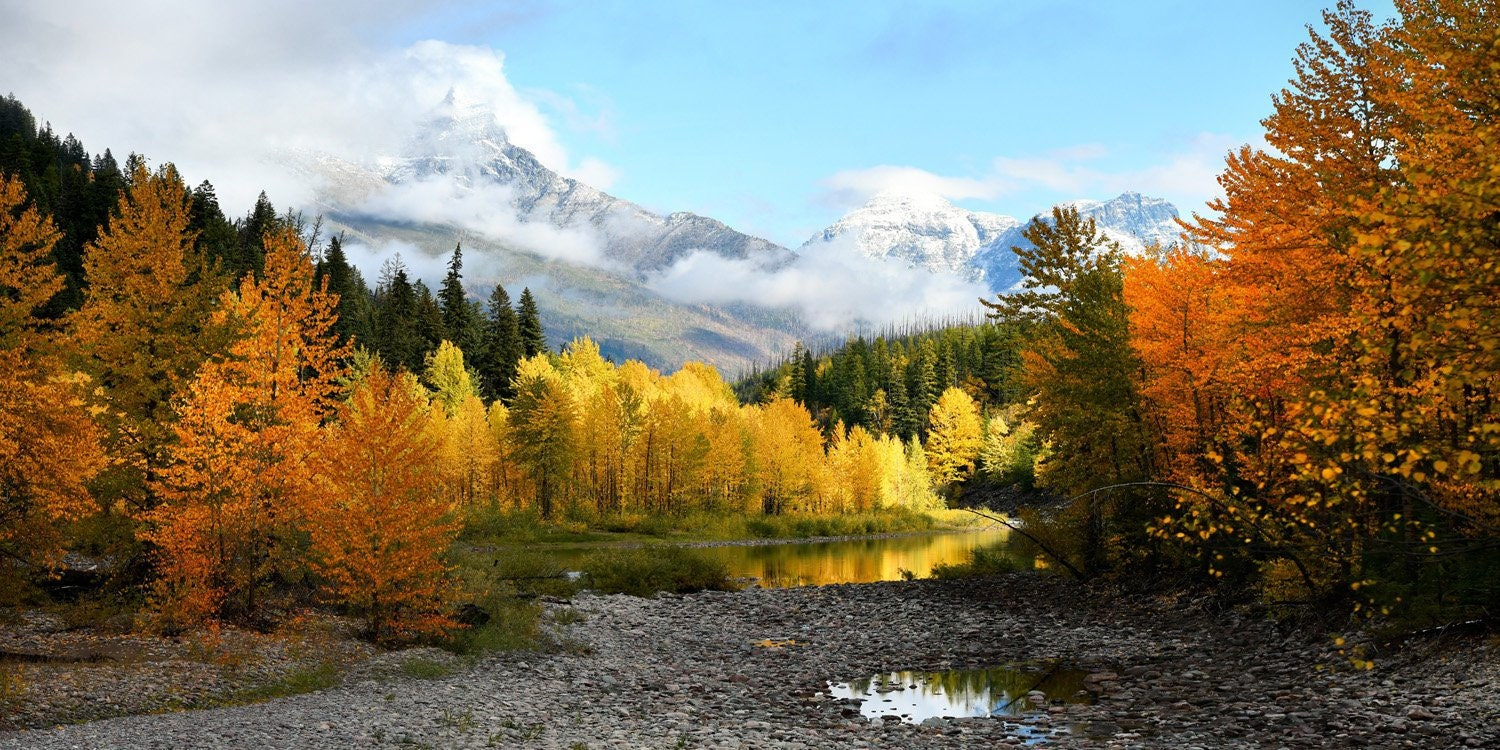 Autumn in the Mountains, Fall Color, Forest Photo, Glacier