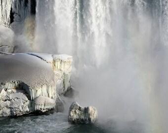 "Frozen Niagara Falls, Winter, Waterfall, Double Rainbow, Landscape Photography, Nature Print, Fine Art Photography, ""Rainbows of Niagara"""