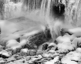 "Frozen Niagara Falls, Winter, Waterfall, Landscape Photography, Black and White, Nature Print, Fine Art Photography, ""Ice Dragon's Cave"""