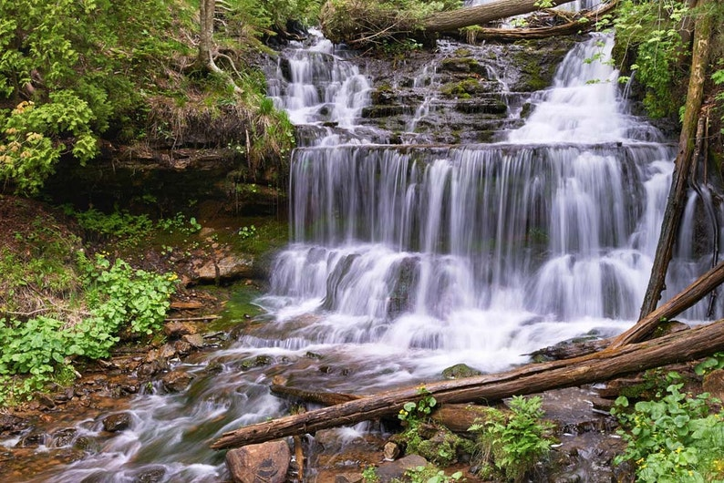 Waterfall Photo Wagner Falls Upper Michigan Landscape image 0