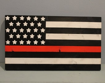 Thin Red Line Painted Wood Flag