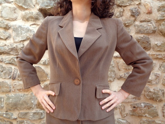 Vintage Womens Business Dress Double Breasted Beige and White Secretary Dress Ladies Classic Working Apparel Ladies Workwear
