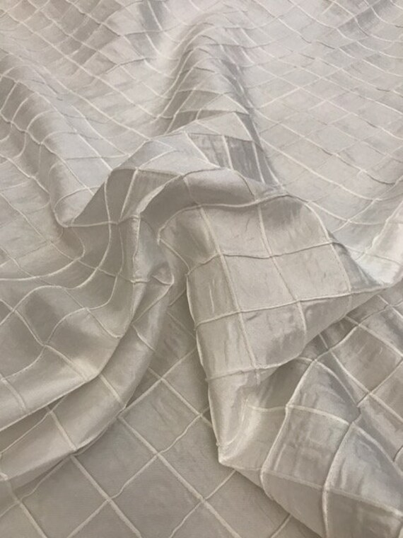 Ivory Diamond Pintuck Taffeta Faux Silk Fabric BY THE YARD