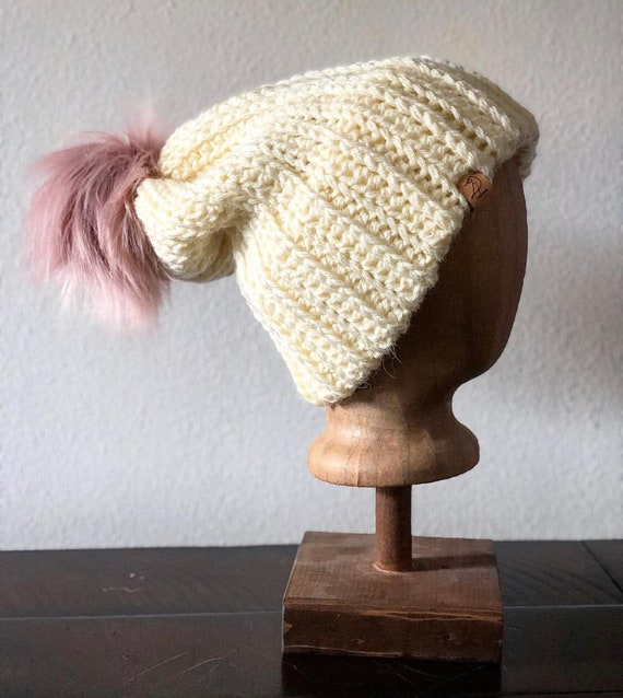 Slouchy Double Brim Crochet Hat with Pom ef2acd5ae41