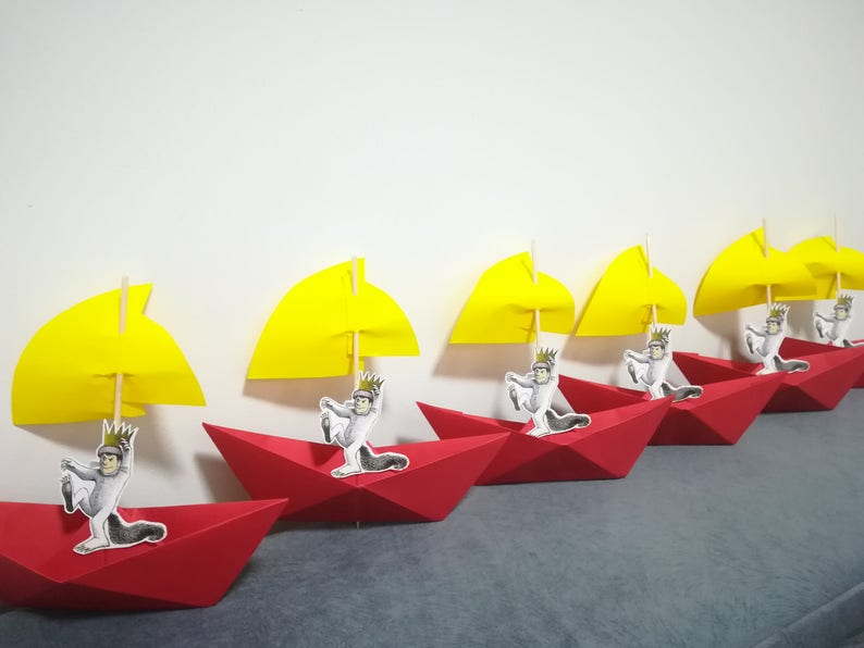 boat Wild things party Max,Paper Origami,Party Table Decor paper boat sail paper boat big boat Where the Wild Things Are,Set of 20