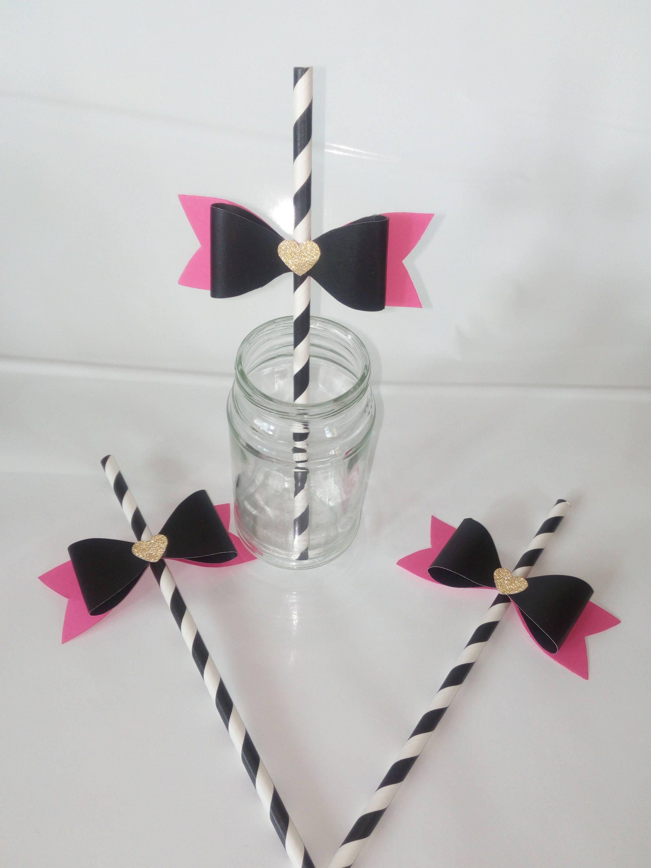 Set of 12, Kate Spade Theme Paper Straws, Kate Spade Inspired Bridal ...