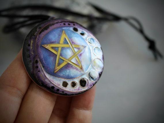 Goth handmade STUNNING! Wicca Pagan Emo 5 Pentagram Necklace