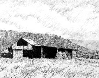 Rustic Barn In Field Pencil Drawing West Virginia Wall Art