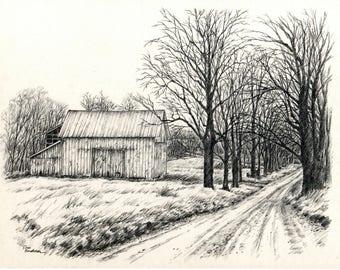 Rustic Barn On Rural Farm Holmes County Ohio Amish Country Original Pencil Drawing Wall Art