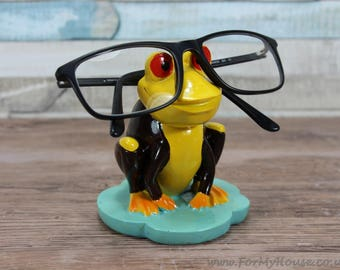 Brown and yellow Frog glasses holder sunglasses stand
