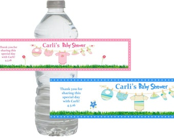"Clothesline Baby Shower Water Bottle Labels Custom ~ Blue Pink *Waterproof*  Personalized Favors (Set of 10) 3"" Custom Labels."