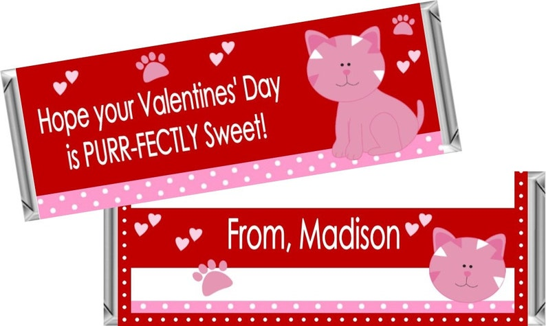 Set of 18 Wrappers Only Kitty Valentines Wrappers for 1.55 OZ Hershey Chocolate Bars