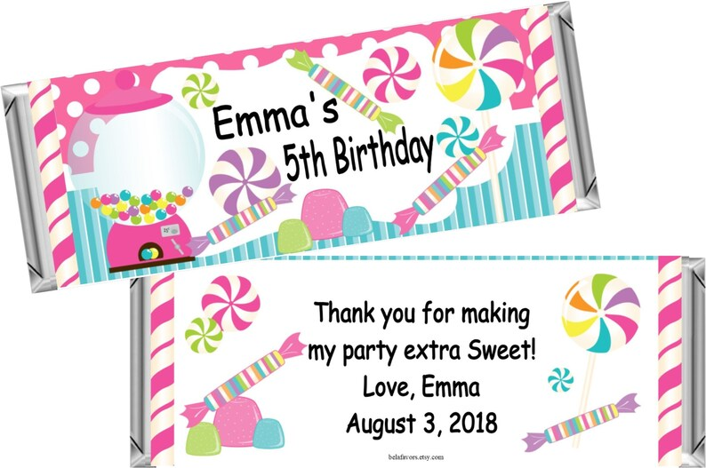 Candyland Candy Land Chocolate Bar Wrappers ~ Personalized Candy Bar Wrappers fit the 1.55 oz Hershey/'s Bar ~ DIGITAL OR PRINTED