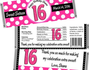 Sweet 16 Favors (ANY AGE) Personalized Candy Bar Wrappers or Wrapped Chocolate Bars ~ Sweet 16 Custom Edible Favors (Set OF 12) Free Foil