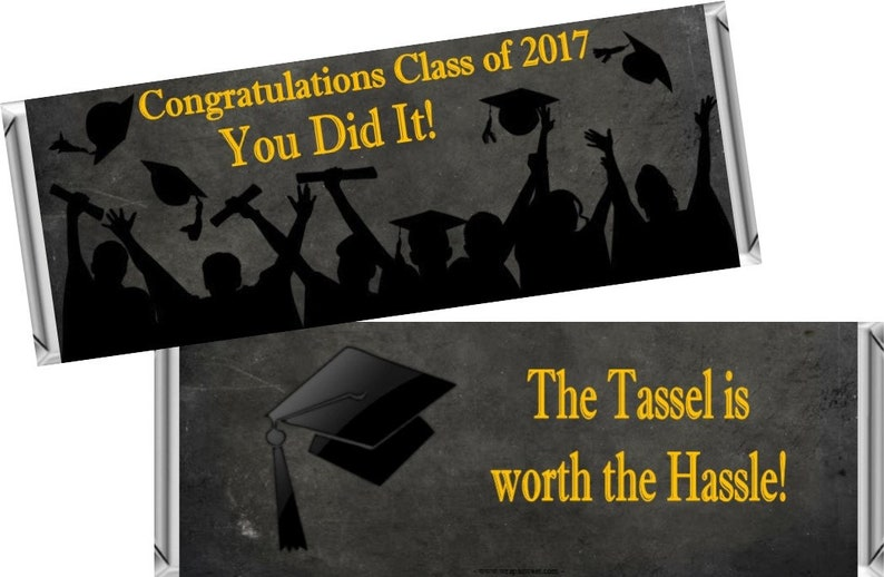 FREE Foil 2018 Personalized Candy Bar Wrappers for Graduation ~ Buy Wrapped Candy Bars or Wrappers Only ~ 1.55 oz Hershey Bar SET OF 12