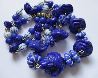 Vintage Art Deco Czech Glass Bead Necklace - Neiger Brothers