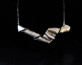 Contemporary Upcycled Lead Free Pewter Minimalist Modernist Handmade Necklace/Neck Piece