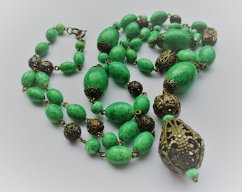 Vintage Art Deco Egyptian Revival Peking Glass Bead Necklace - Neiger Brothers