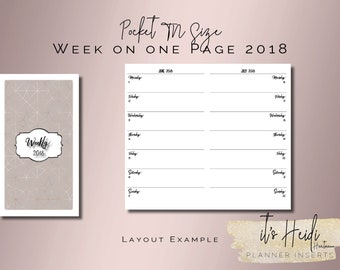 Pocket TN Printable Planner Inserts Week on one page 2018